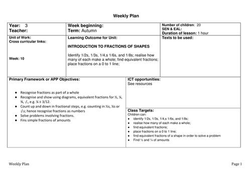 fraction lesson plans 2nd grade