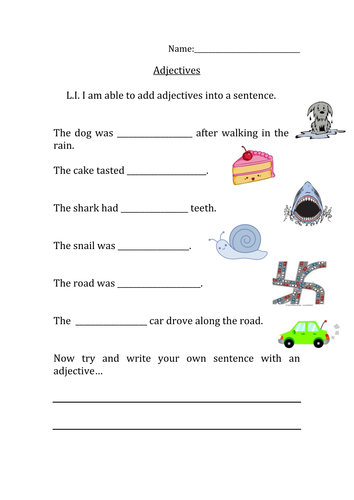 missing adjectives sentence worksheet by nangamy teaching resources. Black Bedroom Furniture Sets. Home Design Ideas