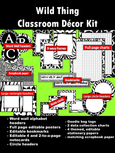 Wild Thing Classroom Decor Kit Decorating Themes Black White