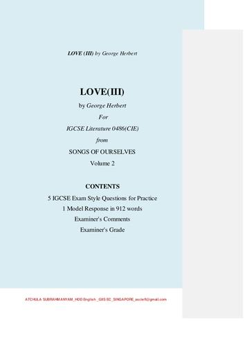 LOVE(III) by George Herbert