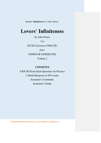 Lovers' Infiniteness by John Donne