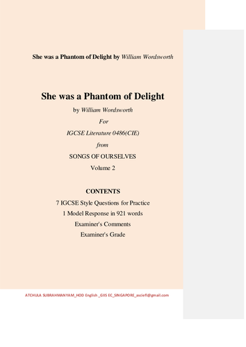 She was a Phantom of Delight by William Wordsworth