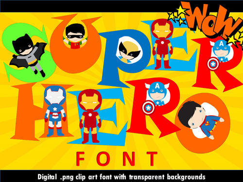 Super Hero Font - Clip Art Lettering Set - Personal and Commercial Use