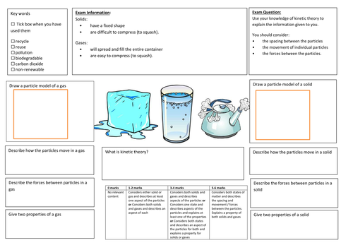 QWC Writing Frame with picture prompt - Kinetic Theory