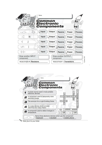 Lesson Starters for Electronics and Systems and Control - Common Electronic Components