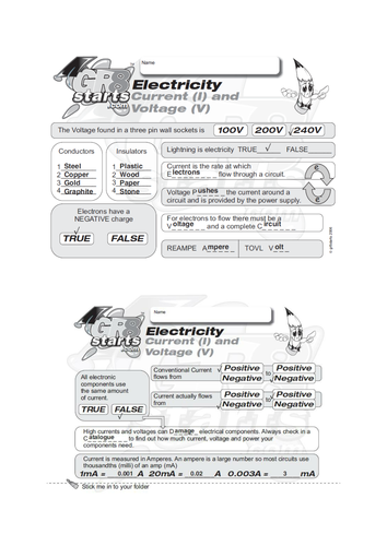 Lesson Starters for Electronics and Systems and Control - Current and Voltage