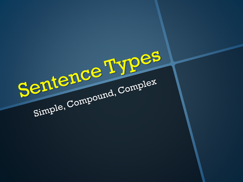 KS2 KS3 PUNCTUATION Sentence Types Starter - Simple Compound Complex Sentences - Examples & Activity