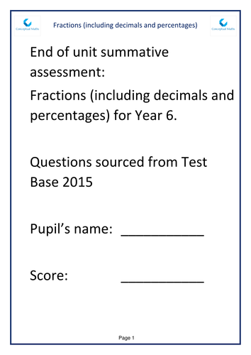 New Curriculum Year 6 Fraction End of Unit Assessment Test