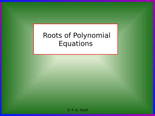 Roots of Polynomials (A-Level Further Maths)
