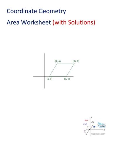Coordinate Geometry Area Worksheet