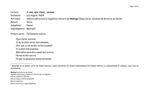 Análisis estructural y lingüística-literaria de Ojos claros, serenos de Gutierre de Cetina