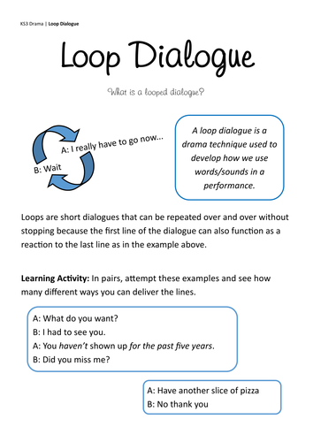 KS3 Loop Dialogue Introduction Worksheet