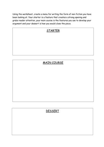 Non fiction analysis menu