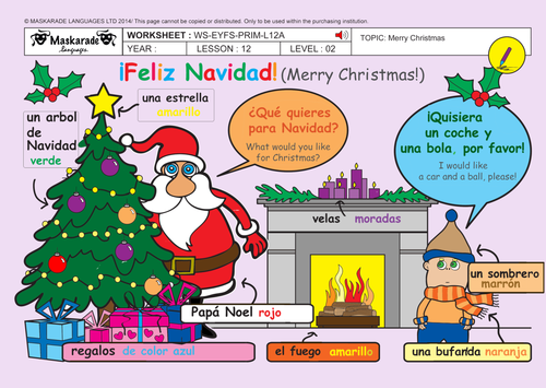 SPANISH-ALL-ABOUT-CHRISTMAS-KS1: Puppet theatre/Cut-out Puppets/Song lyrics/ Christmas decorations/