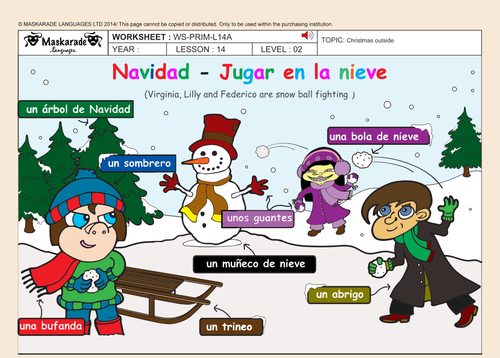SPANISH-ALL-ABOUT-CHRISTMAS FOR Y4-Y5: Christmas decorations/ Song lyrics/Quiz/Cut-out masks/ Poster