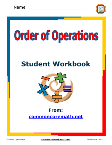 Order of Operations 8 Page Study and Practice Guide; Aligned with NCCS Math 5.OA.1;