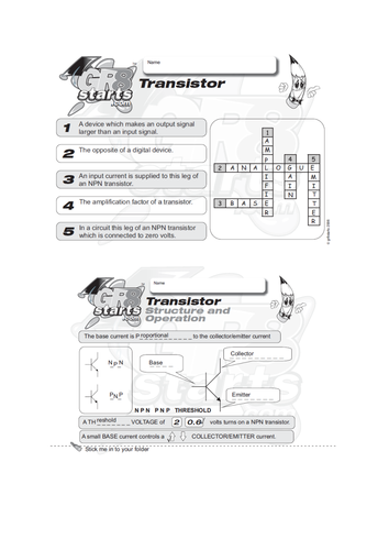 Lesson Starters for Electronics and Systems and Control - The Transistor