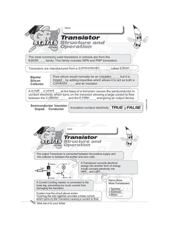 Lesson Starters for Electronics and Systems and Control - Transistor Structure and Operation