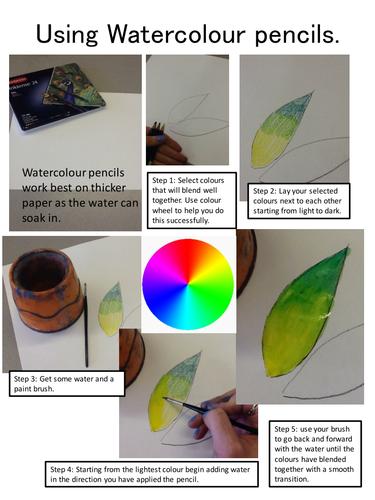 Using watercolour pencils to colour blend