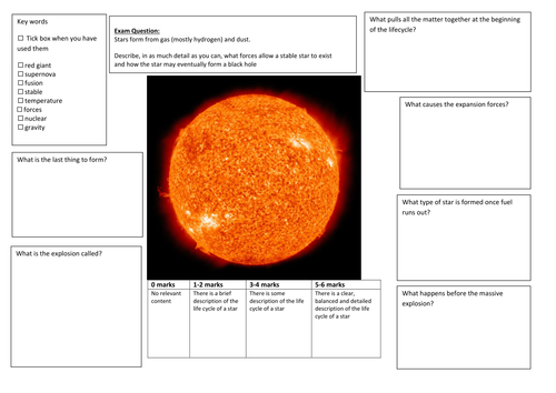 QWC Writing Frame with picture prompt - Lifecycle of a Star to Supernova