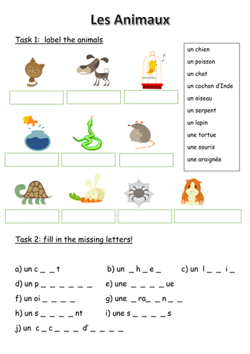 les animaux french animals worksheet by phoenixing teaching resources tes. Black Bedroom Furniture Sets. Home Design Ideas