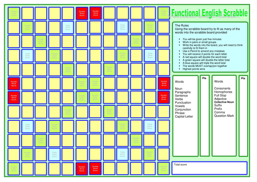 Functional English and Scrabble board