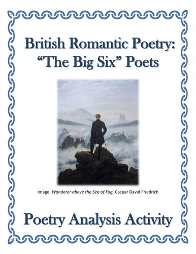 British Romantic Poetry Analysis Activity - The Big Six Poets