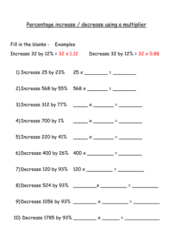 percentage increase and decrease using a multiplier fill in the blanks by jenitta teaching. Black Bedroom Furniture Sets. Home Design Ideas