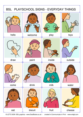Bsl Playschool Signs British Sign Language Early Years By