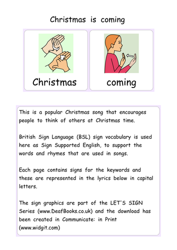 illustrated christmas is coming with lets sign bsl signs british sign language vocabulary by deafbooks teaching resources tes - British Christmas Songs