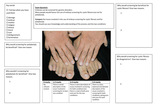 QWC Writing Frame with picture prompt - Genetic Disorders