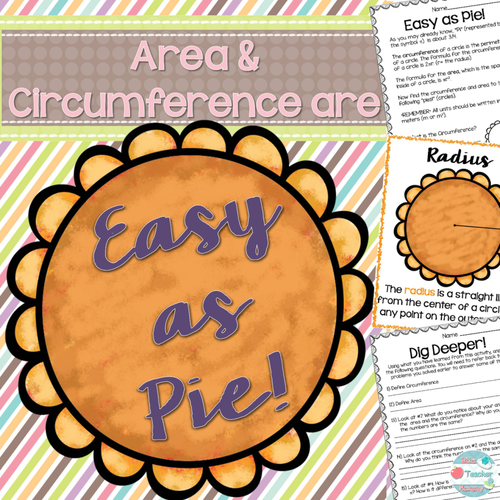 Thanksgiving Area and Circumference Pie Worksheets, Pi Day, Anytime!