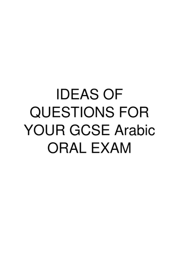 Arabic Speaking Exam sample questions by alkhazragi