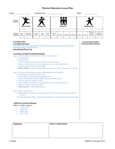 Primary PE Lesson Plan And Planning For An Outstanding Lesson By - Lesson plan template for pe