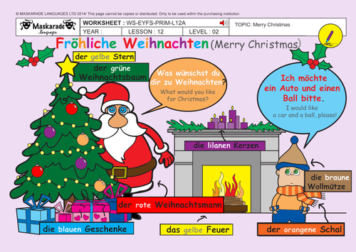 GERMAN-ALL ABOUT CHRISTMAS FOR KS1: Puppet Theatre/ Puppets/ Song lyrics/ Fun activities