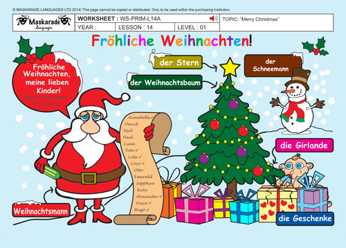 GERMAN- ALL ABOUT CHRISTMAS FOR Y3-Y4: Christmas decorations/ Quiz/ Song lyrics/ Game activities