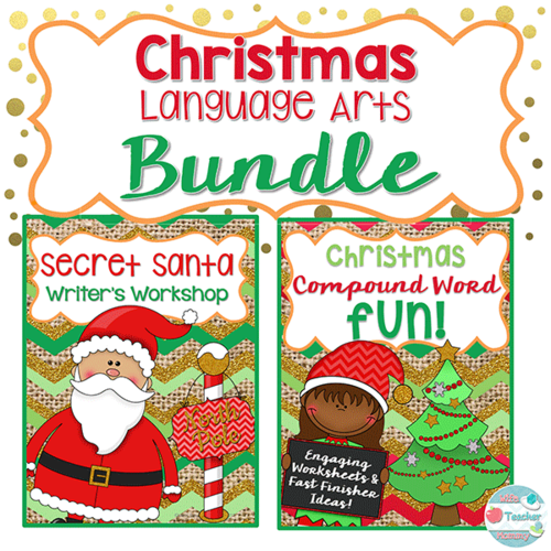Christmas Language Arts Bundle. Secret Santa Writing & Christmas Compound Words.