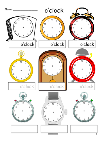 Telling the Time - analogue faces - 12 times to practise - o\'clock ...