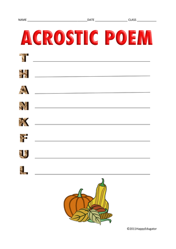 Acrostic Poem - Thankful.