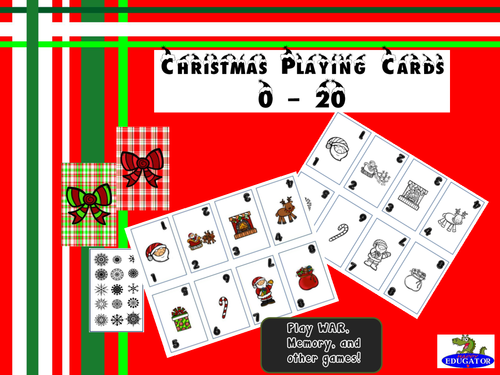 Christmas Playing Cards - Numbers 0 -20
