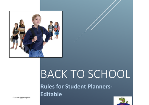 Back to School Rules for Student Planner