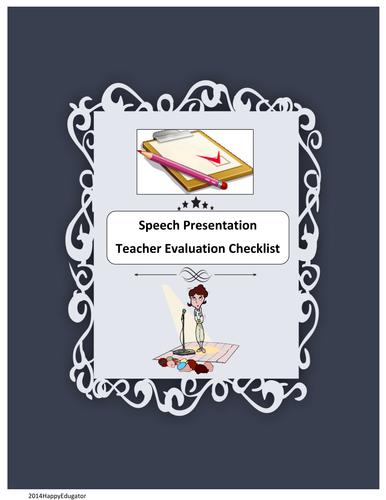 Speech Presentation - Teacher Evaluation Sheet