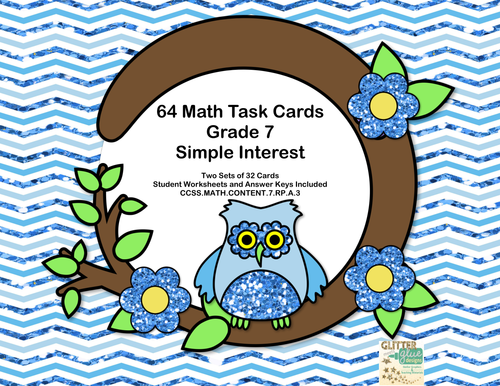 64 Math Task Cards-Grade 7-Simple Interest-Owl Theme