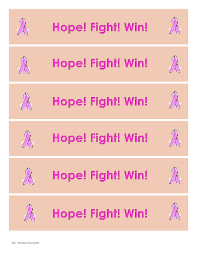 Breast Cancer Awareness Bookmarks - Hope! Fight! Win!