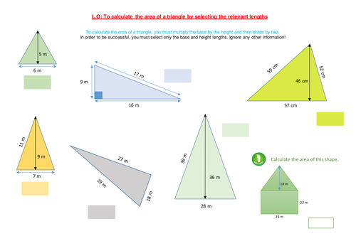 Area of triangles by funkyblues Teaching Resources Tes – Area of a Triangle Worksheet
