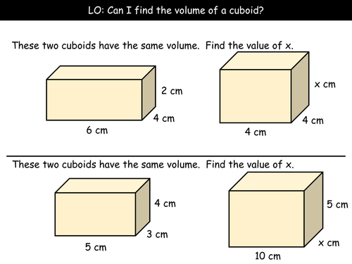 Volume Of A Cuboid Grade D By Arthompson1987 Teaching Resources