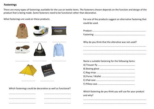 KS3 textiles homeworks