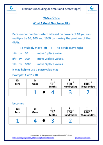 New Curriculum Year 6 Fractions: multiply and divide by 10, 100 and 1000 with answers to 3 dp