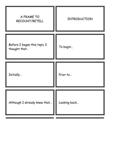 Literacy: A Writing Frame to Recount / Retell