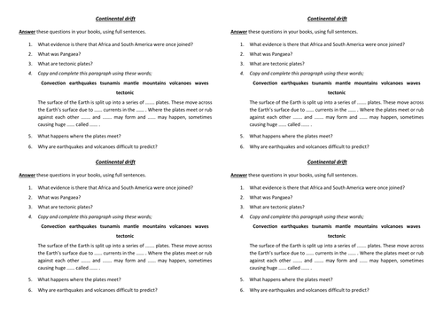 Summary questions for a lesson or topic on continental drift and – Continental Drift Worksheet